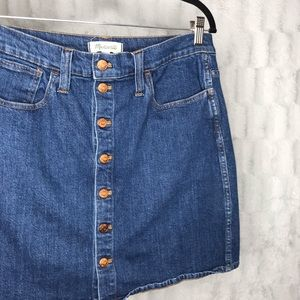 Madewell Front Button Down Denim Mini Skirt